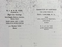 """1912 Vose Gallery, Boston, MA, """"The Latest Work of Emil Carlsen, N.A."""", April 8-20"""
