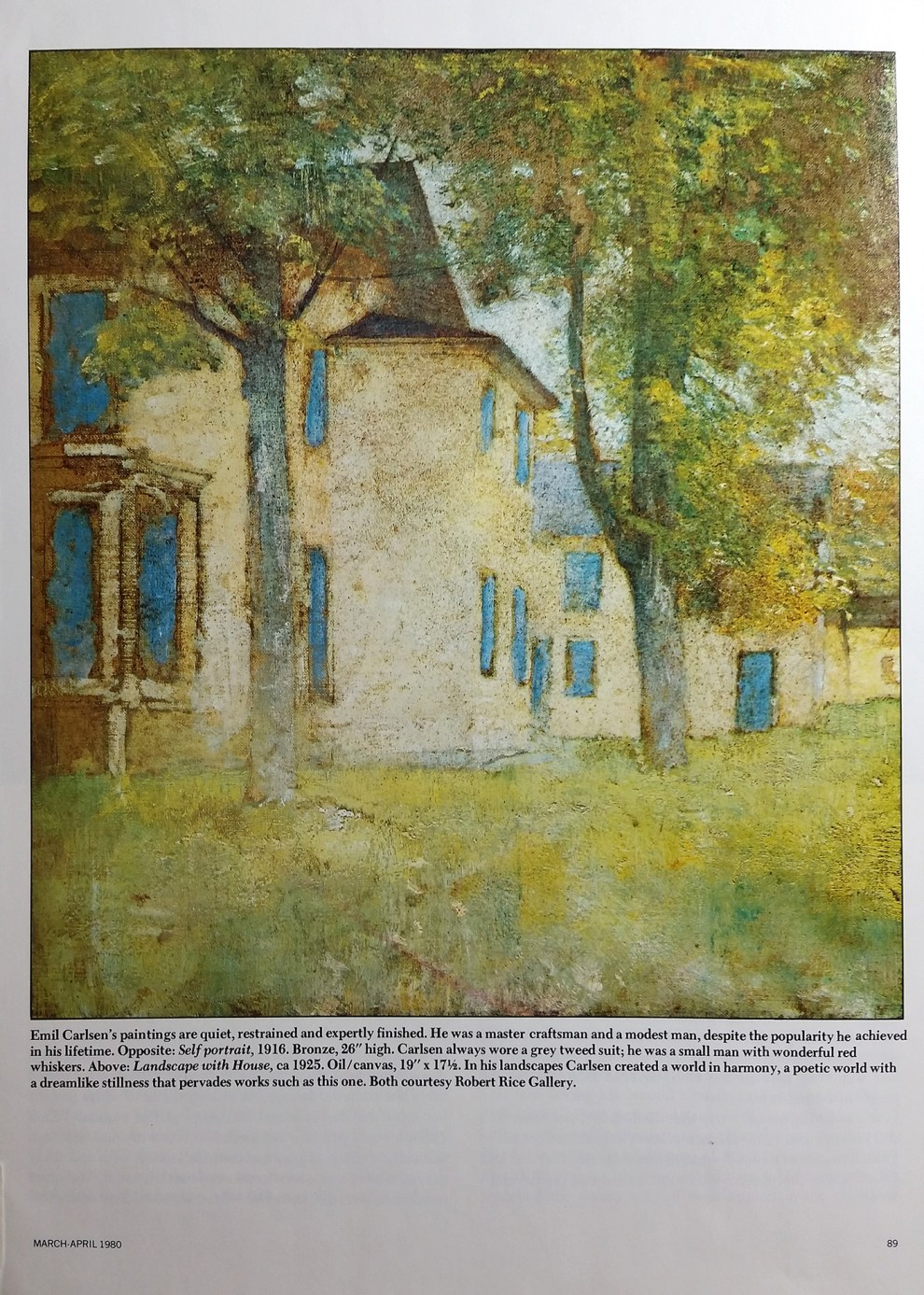 "Art & Antiques, ""Emil Carlsen: Lyrical Impressionist"" by Gertrude Sill, March-April, 1980, pg. 88-95, illustrated: color."
