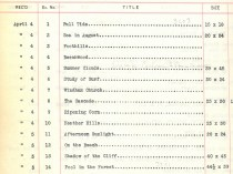 """""""1912 Exhibition of Paintings List Provided by Vose Gallery, Boston, MA"""", April 8-20, 1912"""