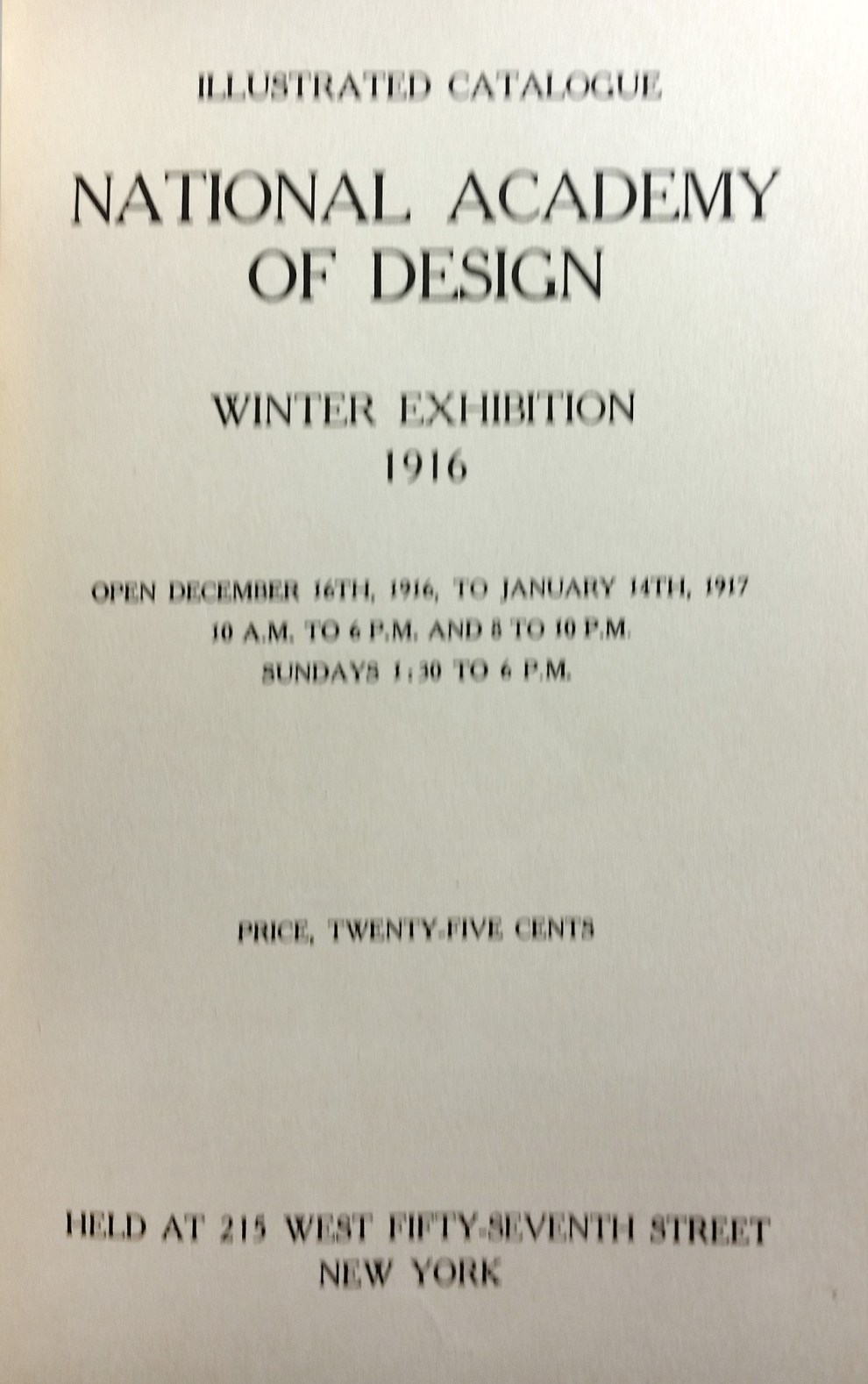 "1916 National Academy of Design, New York, NY, ""Winter Exhibition"", December 16, 1916 - January 15, 1917"