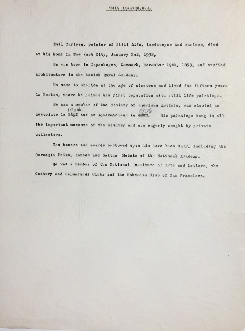 """Brief Artist Biography Written by the Staff of the National Academy of Design"" provided by National Academy of Design, New York, NY, c.1930"