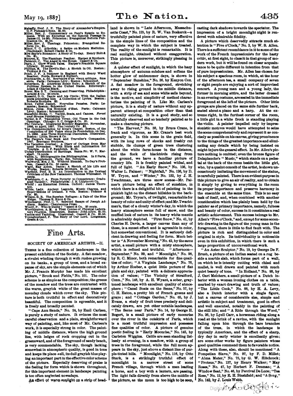 """The Nation, """"American Society of Artists"""", May 19, 1887, pg. 435, volume 44, #24, not illustrated"""