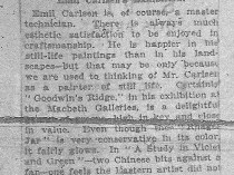 "New York Times, New York, NY, ""Emil Carlsen's Exhibition."", March 11, 1923"