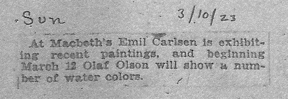 """The Sun, New York, NY, """"At Macbeth's Emil Carlsen..."""", March 10, 1923"""