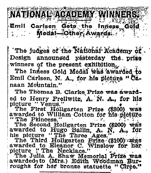 "New York Times, New York, NY, ""National Academy Winners. Emil Carlsen Gets the Inness Gold Medal-Other Awards."", March 23, 1907"