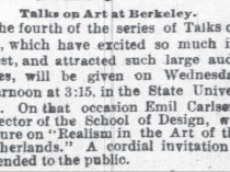 "Oakland Tribune, Oakland, CA, ""Talks on Art at Berkeley"", March 27, 1888, Page 1"