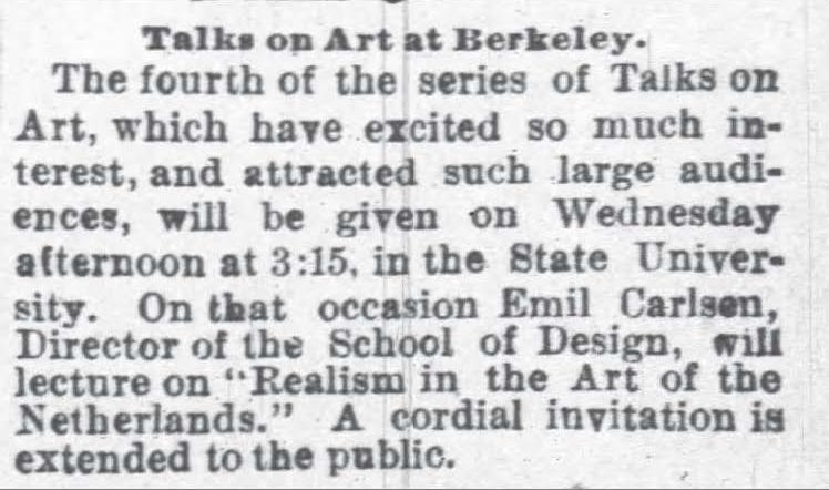 "Oakland Tribune, Oakland, CA, ""Talks on Art at Berkeley"", March 27, 1888, Page 1"