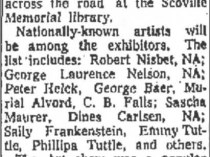 "The Bridgeport Post, Bridgeport, CT, ""Art Show Features 3-Day Antiques Fair"", September 19, 1958, Page 30"