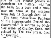"The Bridgeport Post, Bridgeport, CT, ""Colby College Gains Impressionist Works"", June 22, 1975, Page 26"