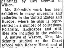 "The Bridgeport Post, Bridgeport, CT, ""YW Exhibits Work of Carl Schmitt"", January 20, 1963, Page 44"