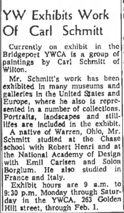 """The Bridgeport Post, Bridgeport, CT, """"YW Exhibits Work of Carl Schmitt"""", January 20, 1963, Page 44"""