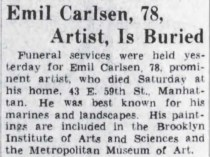 "The Brooklyn Daily Eagle, Brooklyn, NY, ""Emil Carlsen, 78, Artist, Is Buried"", January 4, 1932, Page 3"
