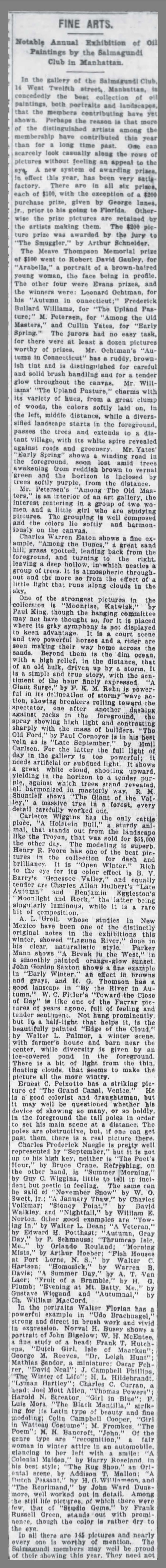 "The Brooklyn Daily Eagle, Brooklyn, NY, ""Fine Arts."", February 9, 1907, Page 4"