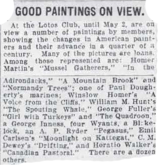 """The Brooklyn Eagle, Brooklyn, NY, """"Good Paintings On View"""", April 29, 1909, Page 4"""