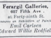 "The Brooklyn Daily Eagle, Brooklyn, NY, ""Ad for Ferargil Galleries Exhibition of Paintings by Emil Carlsen and Edward Willis Redfield"", November 23, 1919, Page 71"