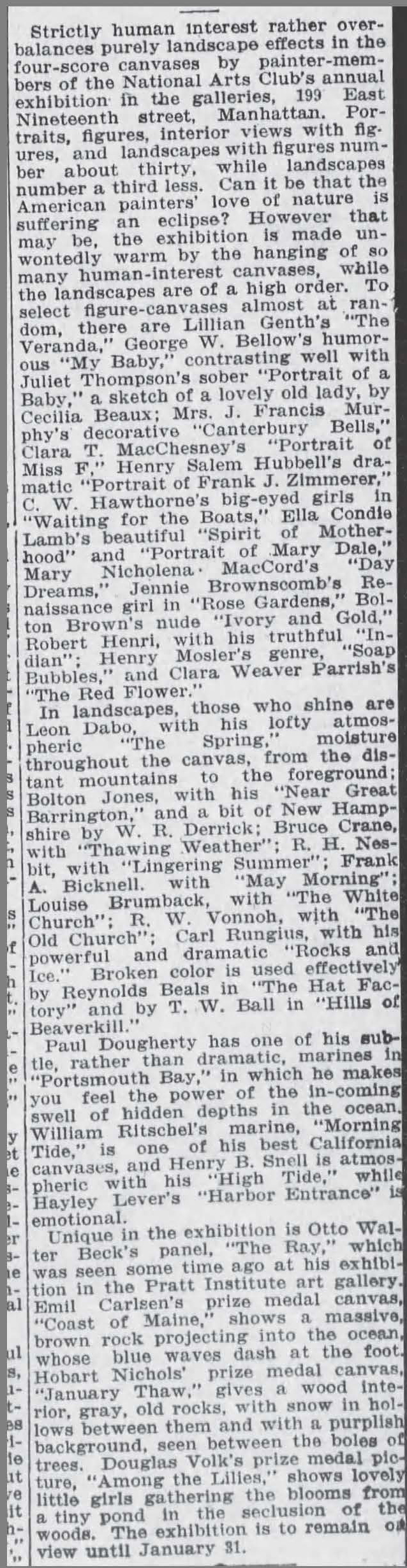 "The Brooklyn Daily Eagle, Brooklyn, NY, ""The World of Art"", January 12, 1915, Page 20"