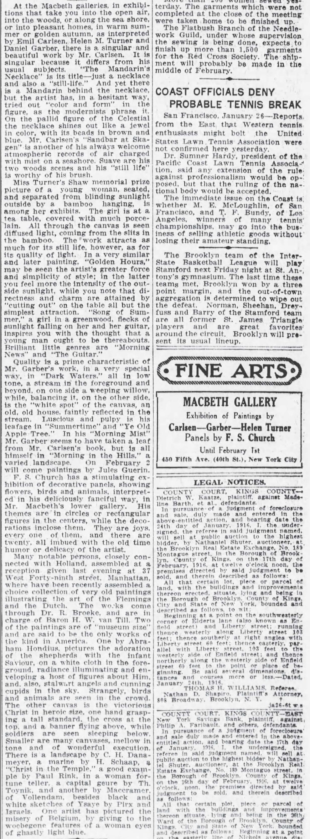 "The Brooklyn Daily Eagle, Brooklyn, NY, ""The World of Art"", January 26, 1916, Page 8"