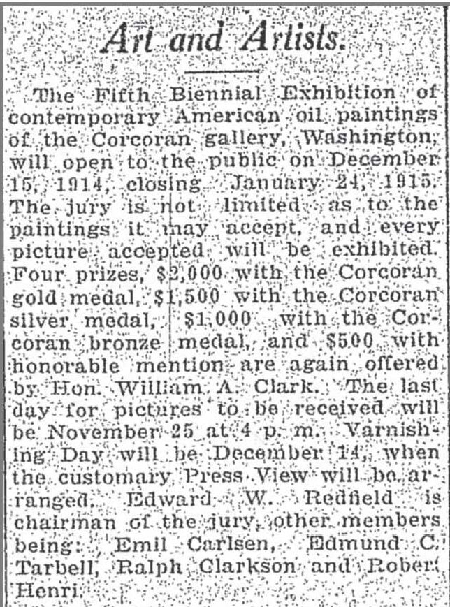 """The Charleston Daily Mail, Charleston, WV, """"Art and Artists"""", October 20, 1914, Page 4"""