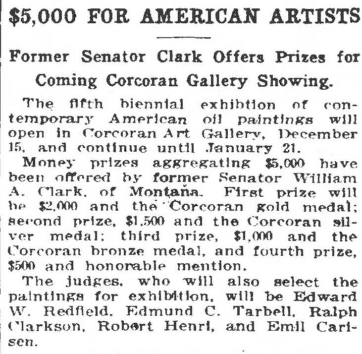 "The Washington Post, Washington, DC, ""$5,000 For American Artists"", October 10, 1914, Page 10"