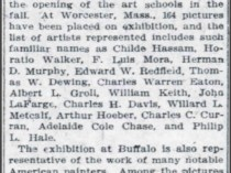 "The Washington Times, Washington, DC, ""Exhibitions to Continue All Summer in Buffalo and Worcester, Mass"", June 30, 1907, First Edition"