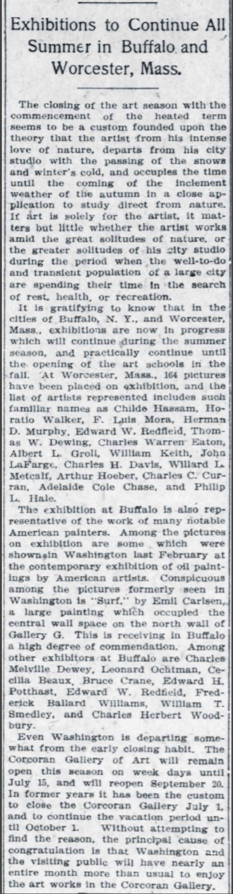 """The Washington Times, Washington, DC, """"Exhibitions to Continue All Summer in Buffalo and Worcester, Mass"""", June 30, 1907, First Edition"""