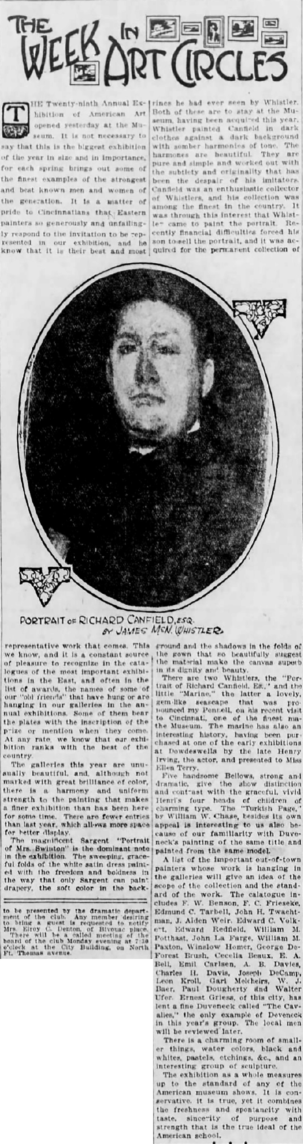 "The Cincinnati Enquirer, Cincinnati, OH, ""The Week in Art Circles"", May 28, 1922, Second Edition"