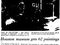 "Del Rio News Herald, ""Houston Museum gets 62 paintings"", September 5, 1985, Page 6"
