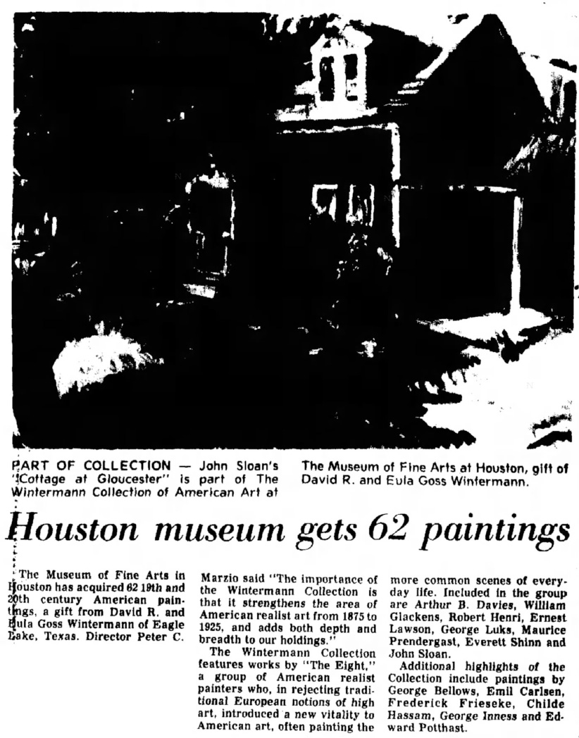 """Del Rio News Herald, """"Houston Museum gets 62 paintings"""", September 5, 1985, Page 6"""