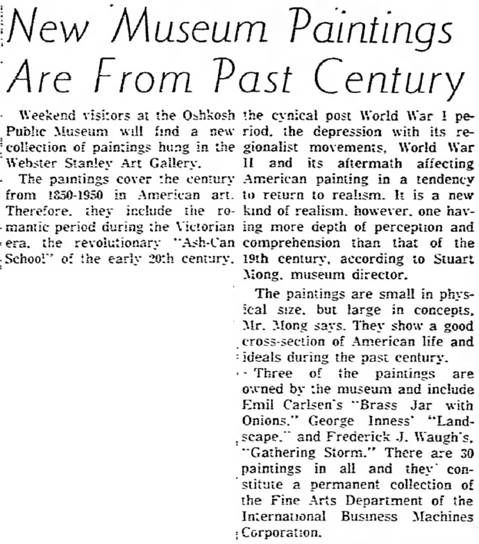 "Oshkosh Daily Northwestern, Oshkosh, WI, ""New Museum Paintings Are From Past Century"", October 8, 1955, Page 12"