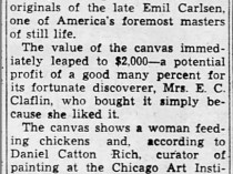 "The Decatur Daily Review, Decatur, IL, ""Oil Painting Proves 'Find'"", January 25, 1938, Page 11"