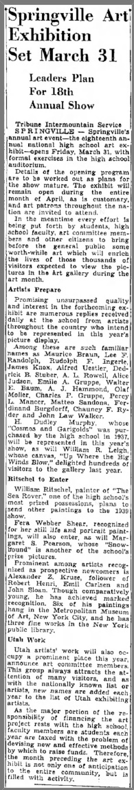 "The Salt Lake Tribune, Salt Lake City, UT, ""Springville Art Exhibition Set March 31"", March 8, 1939, Page 17"