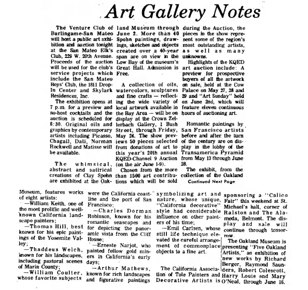 "The Times, San Mateo, CA, ""Art Gallery Notes"", May 18, 1974, Page 46."