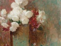 Emil Carlsen : Chrysanthemums in vase, 1891.