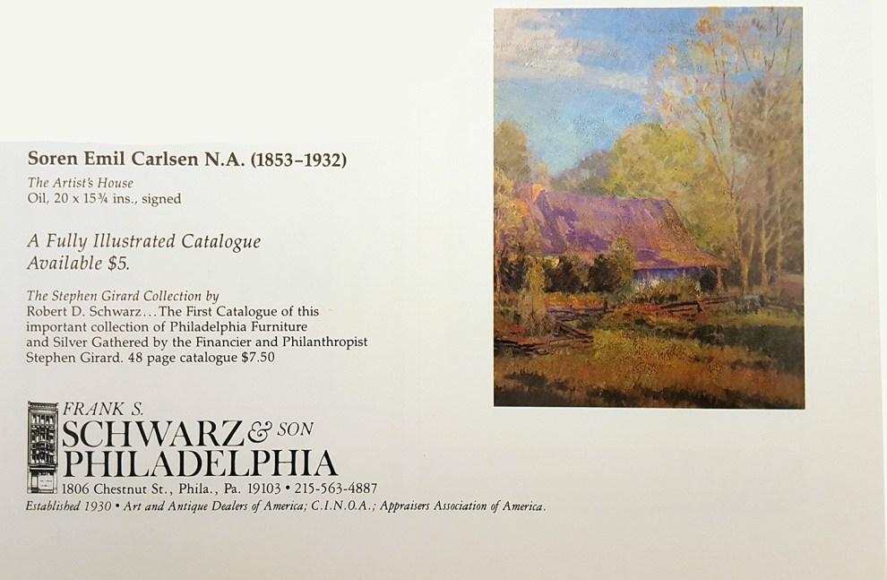 """""""Emil Carlsen Ad for Frank S. Schwarz & Son Philadelphia"""", Philadelphia, PA, unknown magazine, xxxx"""