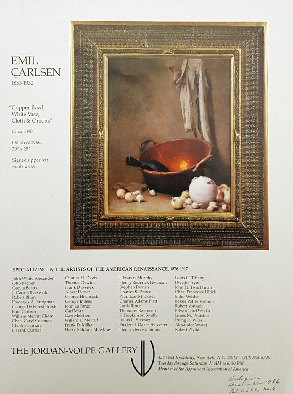 """Emil Carlsen Ad for The Jordan-Volpe Gallery"", Antiques Magazine, December, 1986, illustrated: color"