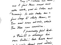 """Letter from Emil Carlsen to Helen I Keep"" provided by Amon Carter Center, Dallas, TX, July 1, 1930, page 1-2"