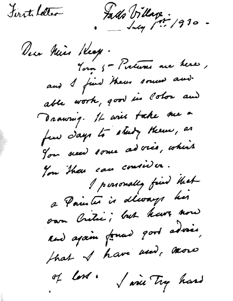 """""""Letter from Emil Carlsen to Helen I Keep"""" provided by Amon Carter Center, Dallas, TX, July 1, 1930, page 1-2"""