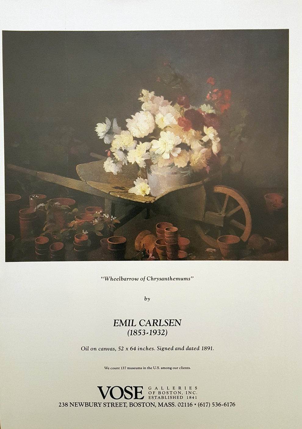 """Emil Carlsen Magazine Ad for Vose Galleries of Boston"", unknown magazine ad, 1984, illustrated: color"