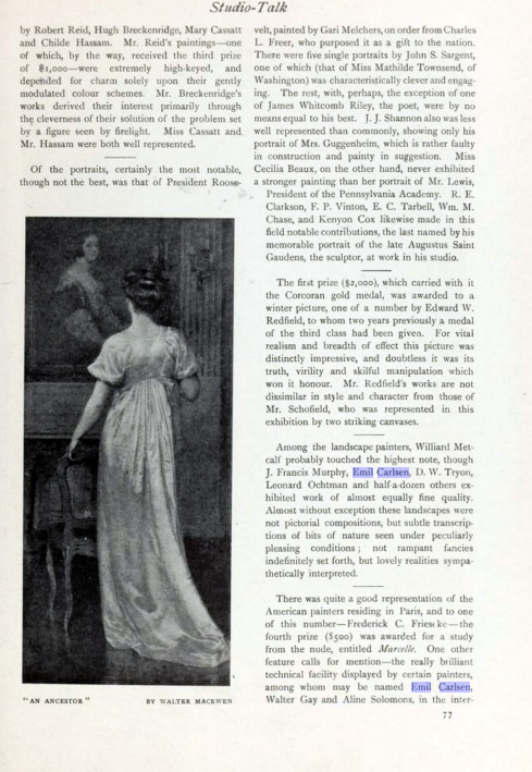 "International Studio, New York, NY, ""Studio Talk"", 1909, volume 37, March-June, Numbers 145-148, page 77, not illustrated"