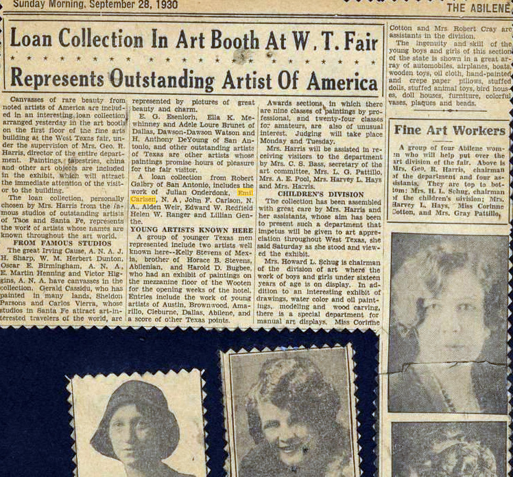 "The Abilene, Abilene, TX, ""Loan Collection In Art Booth At WT Fair Represents Outstanding Artists Of America"", September 28, 1930"