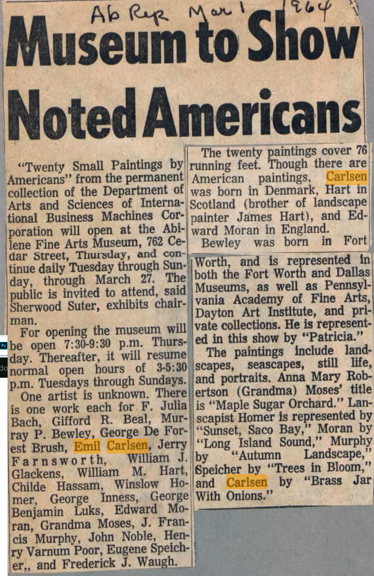 "The Abilene Reporter, Abilene, TX, ""Museum to Show Noted Americans"", March 1, 1964"