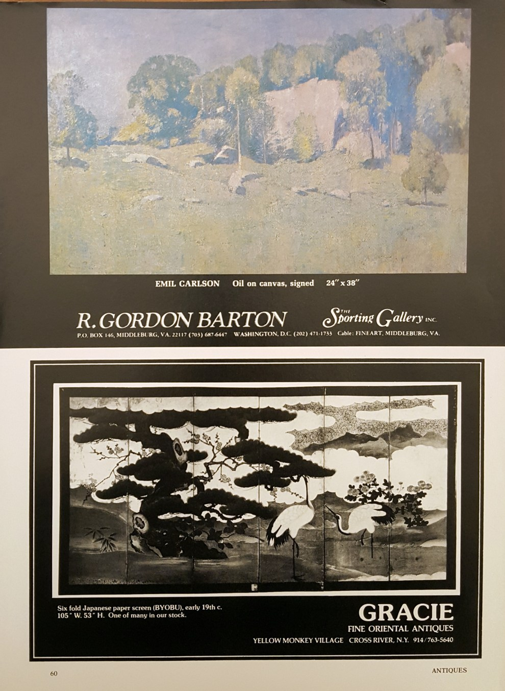 """Emil Carlsen Ad for R. Gordon Barton"", The Magazine Antiques, xxxx, page 60, illustrated: color"