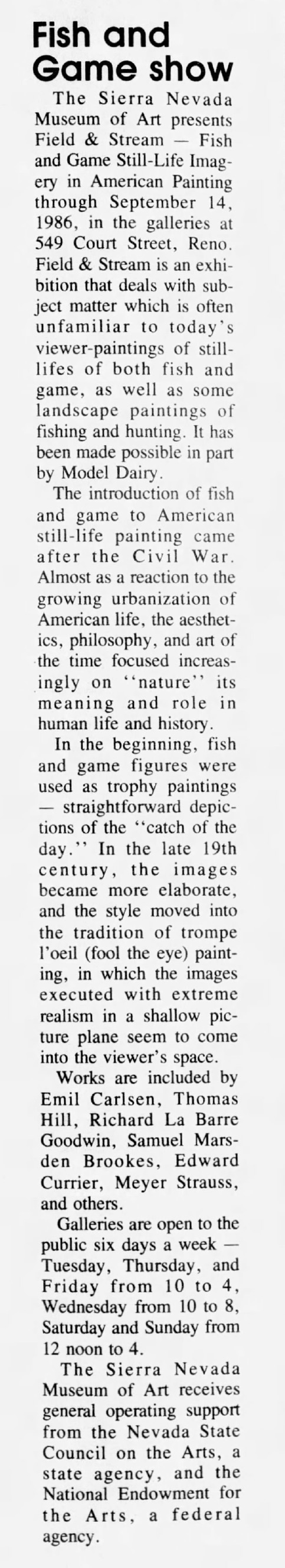 "Reno Gazette-Journal, Reno, NV, ""Fish and Game show"", Thursday, August 21, 1986, Main Edition, page 69, not illustrated"