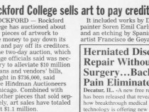 "Herald and Review, Decatur, IL, ""Rockford College sells art to pay creditors"", September 13, 2006, page 7, not illustrated"
