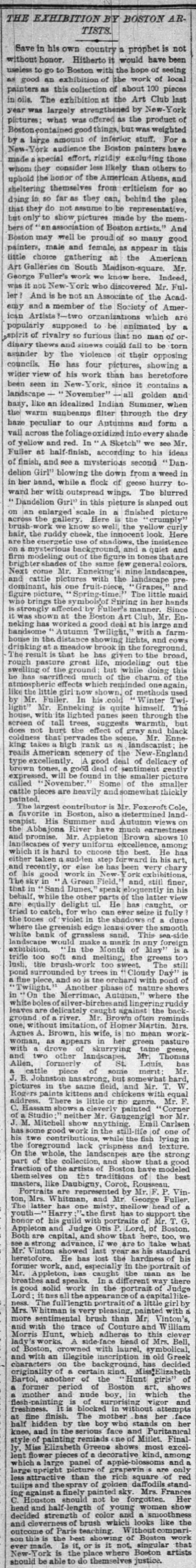 "The New York Times, New York, NY, ""The Exhibition by Boston Artists."", Saturday, January 13, 1883, page 5, not illustrated."