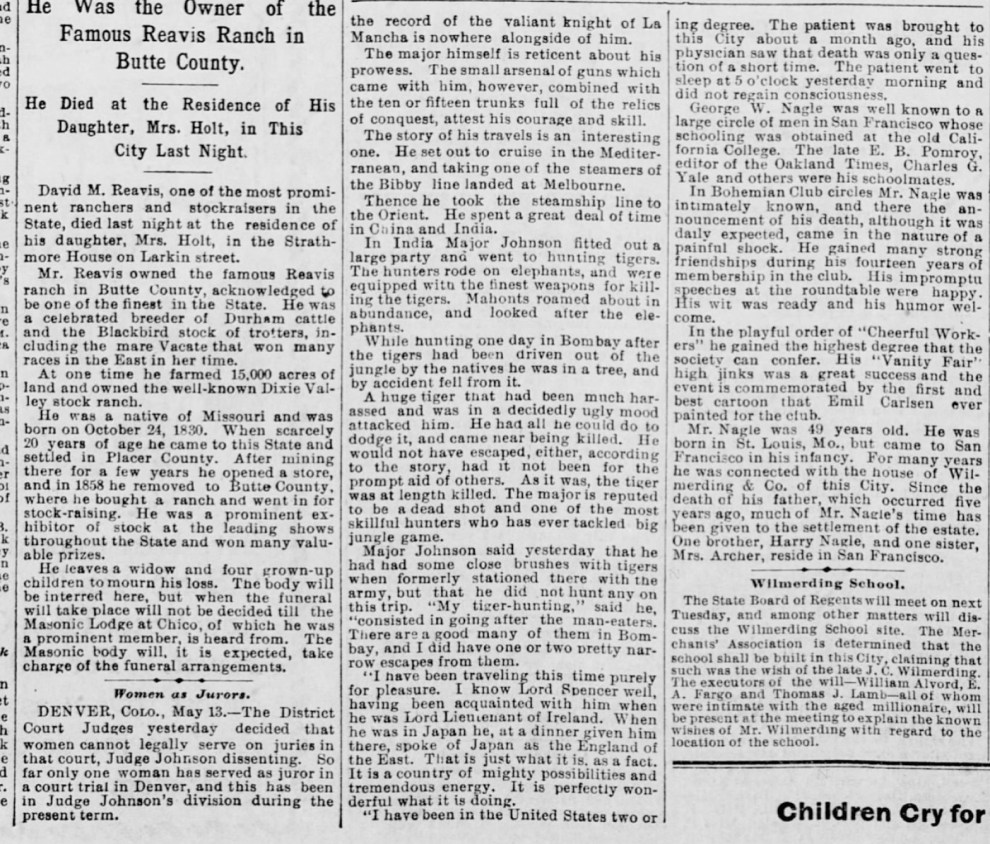 "The San Francisco Call, San Francisco, CA, ""Obituary George W. Nagle"", Thursday, May 14, 1896, first edition, page 8, not illustrated."