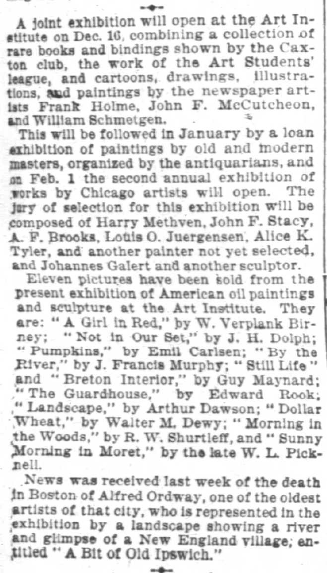 "Chicago Daily Tribune, Chicago, IL, ""(Joint Exhibition)"", Sunday, December 5, 1897, page 43, not illustrated."
