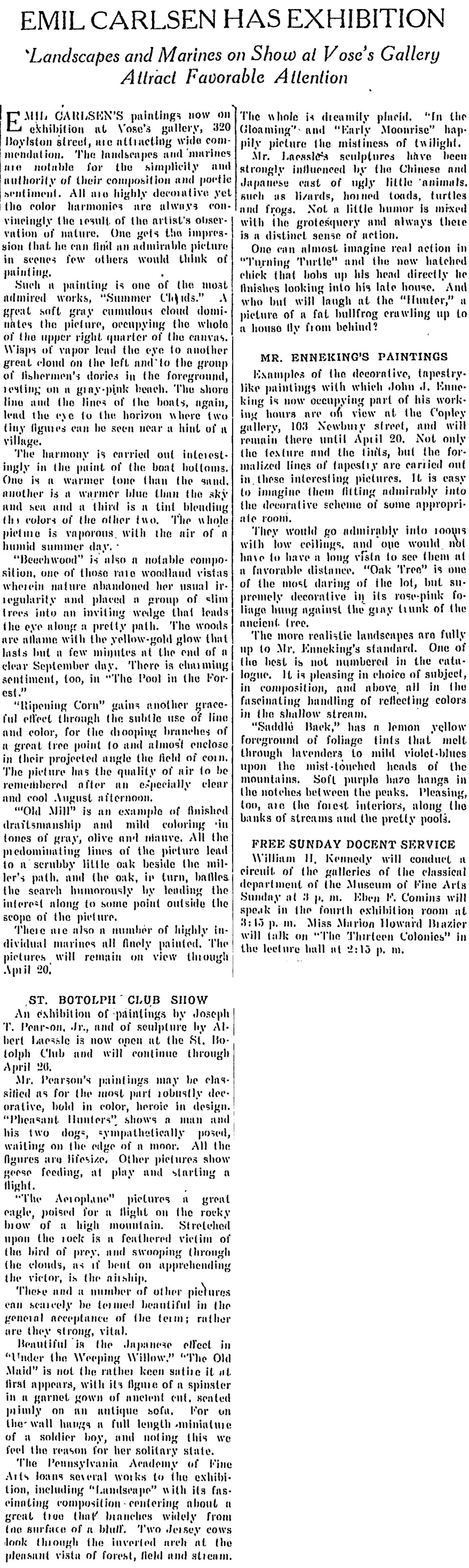 """The Christian Science Monitor, New York, NY, """"Emil Carlsen Has Exhibition"""", April 13, 1912, page 6, not illustrated"""