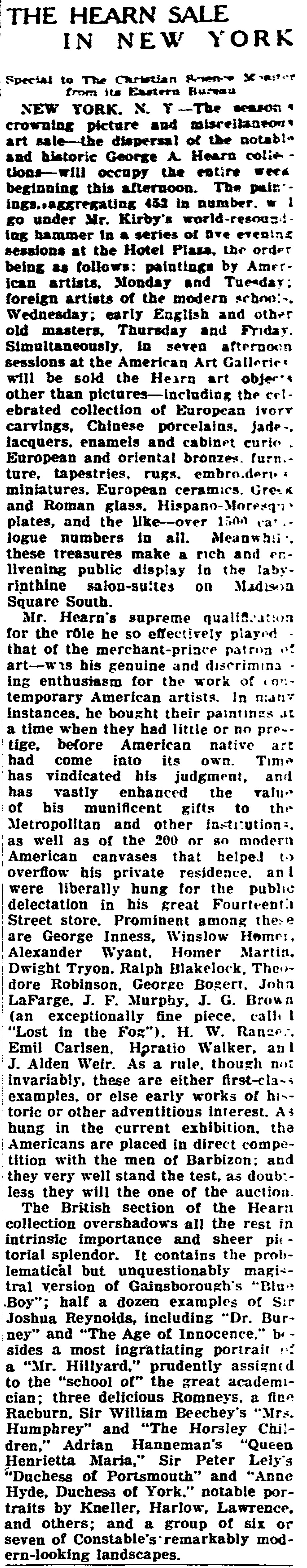 """The Christian Science Monitor, New York, NY, """"The Hearn Sale in New York"""", February 25, 1918, page 16, not illustrated"""