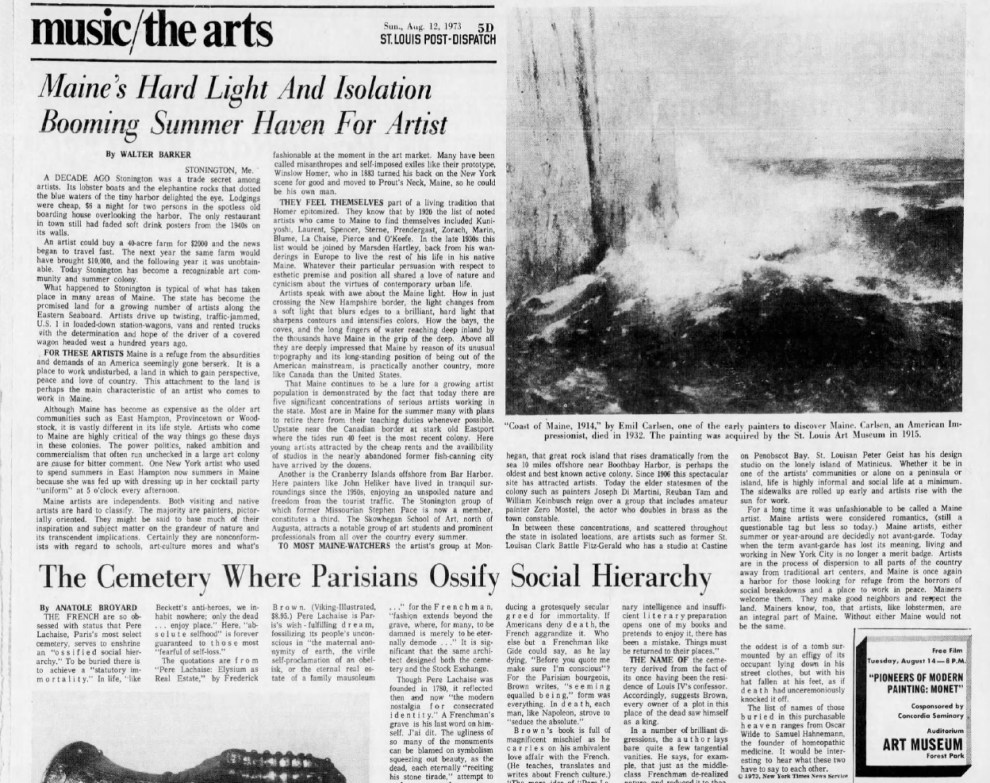 "St. Louis Post-Dispatch, St. Louis, MO, ""Maine's Hard Light and Isolation Booming Summer Haven For Artist"", August 12 1973, Sunday, Main Edition, page 49, Illustrated: B&W"